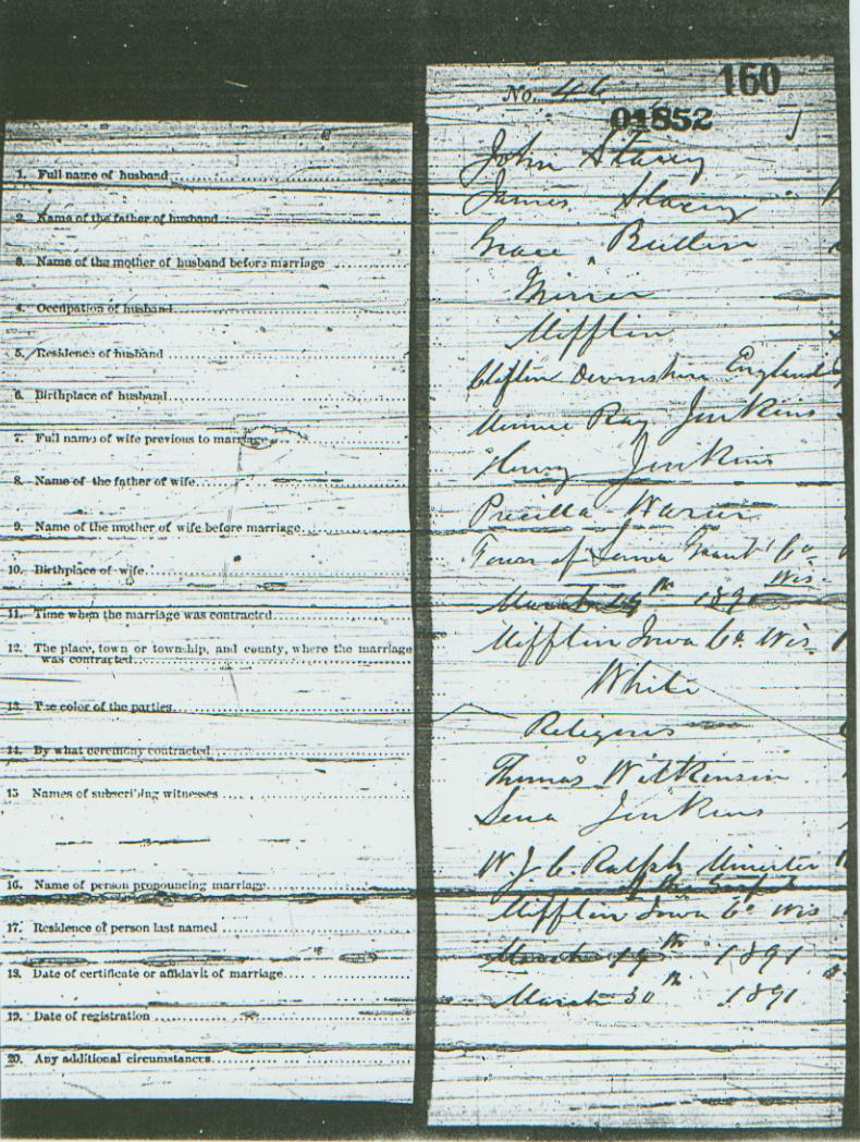 John stacey occupation marriage certificate 1900 census and clarence bird stacey birth certificate buried obituary census 1880 mifflin iowa county wisconsin page aiddatafo Gallery